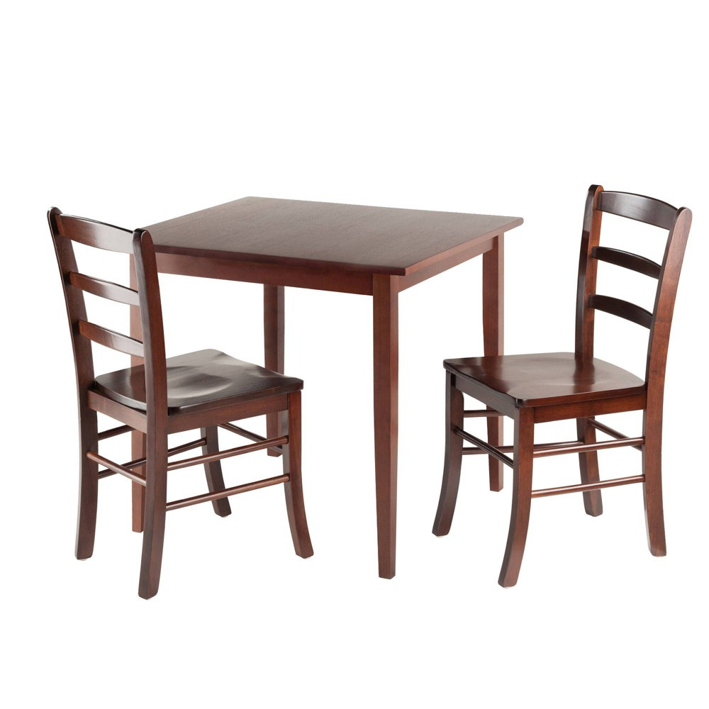 3pc Groveland Square Dining Table with 2 Chairs Walnut (Brown) - Winsome
