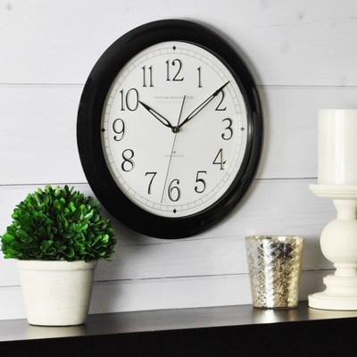 "Whisper 11"" Round Wall Clock Black - FirsTime"