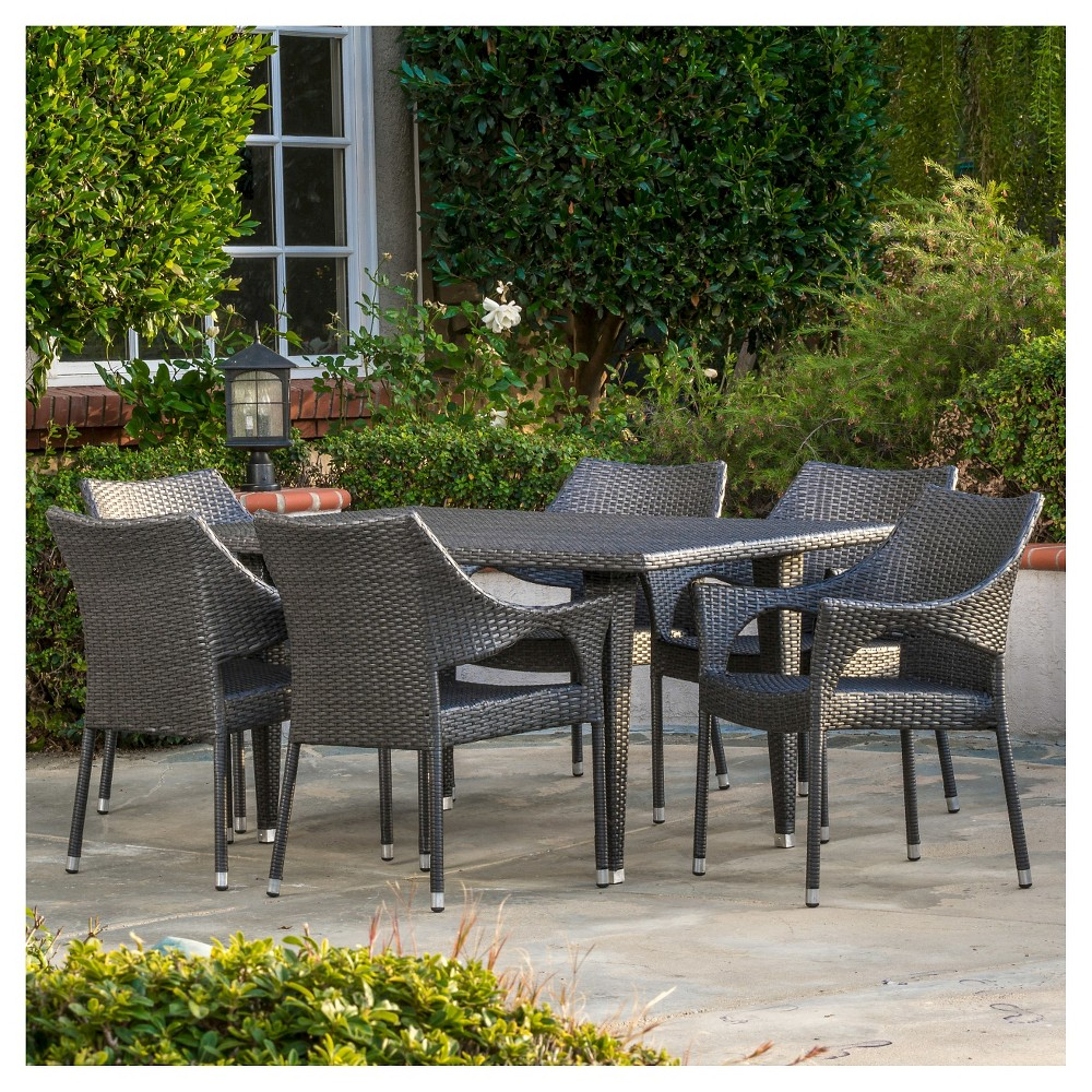 Cliff 7pc Wicker Patio Dining Set - Gray - Christopher Knight Home
