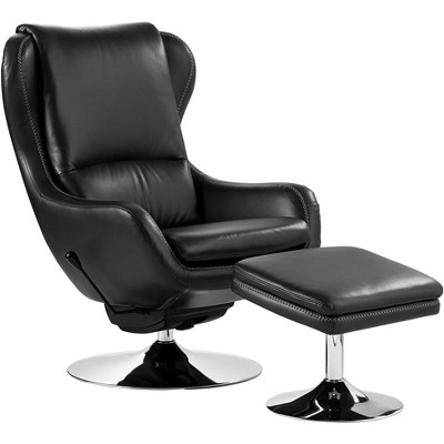 Elm Lane Baxter Black Faux Leather Lounge Chair and Ottoman