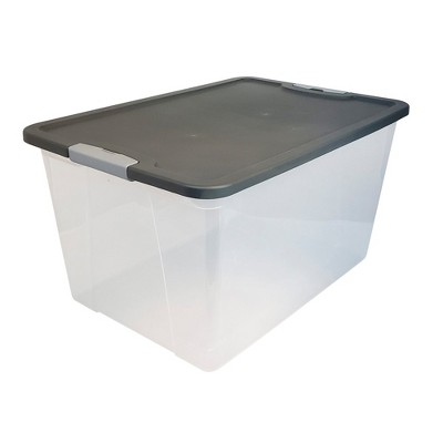 Homz 64 Quart Secure Seal Latching Extra Large Clear Plastic Storage Tote Container Bin with Gray Lid for Home, Garage, and Basement Organization