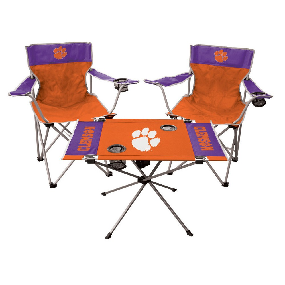 NCAA Rawlings Tailgate Kit - 2 Chairs and Endzone Table Clemson Tigers