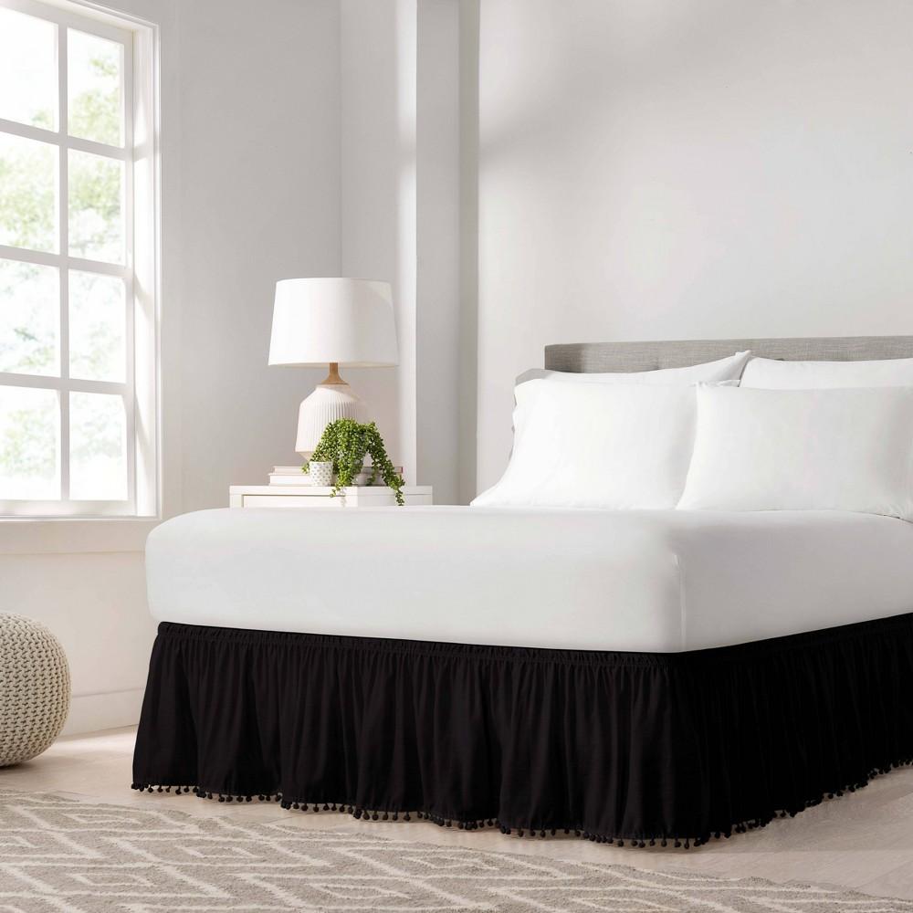 Easy Fit Adjustable Pom Pom Fringe Queen King Bedskirt Black