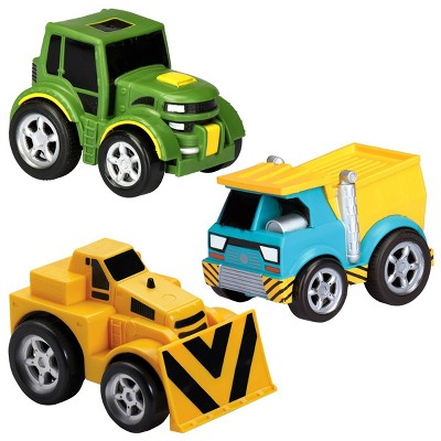 Kid Galaxy Pull-Back Tractor, Dump Truck and Bulldozer