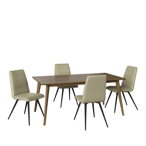5pc Sampat Dining Table And Chairs Set Textured Walnut Oatmeal Handy Living Target