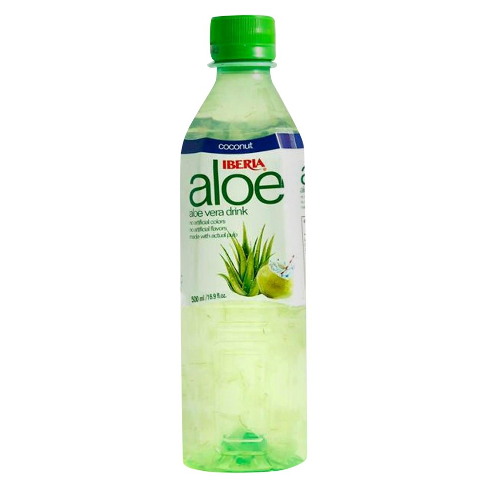 Iberia Coconut Aloe Vera Drink 16.9 oz Support a healthier lifestyle and replace pop or juice with the Coconut Aloe Vera Drink from Iberia. Made with no artificial colors or flavors, this drink features actual aloe vera pulp from organic aloe vera fields in Taiwan as its main ingredient. A refreshing coconut flavor makes this an easy alternative to help curb those sugar-loaded beverage cravings.