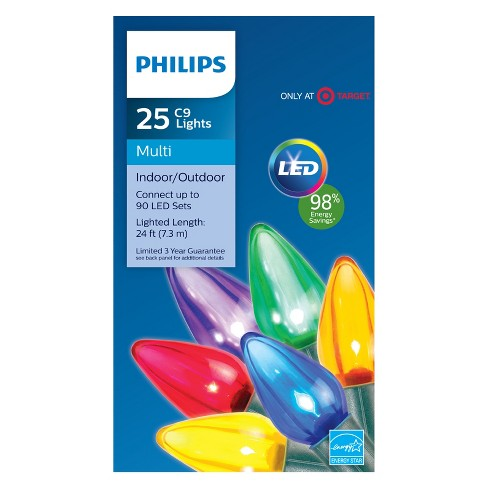 philips 25ct christmas led smooth c9 string lights multicolored gw target - Philips C9 Led Christmas Lights