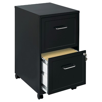 Hirsh Industries® Space Solutions File Cabinet on Wheels, 2 Drawer - Black
