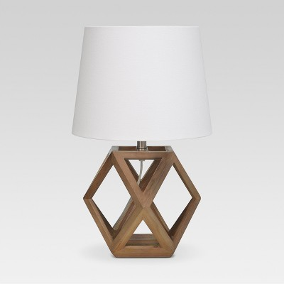 Geometric Wood Figural Accent Lamp Brown Includes Energy Efficient Light Bulb - Threshold™