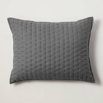King Cashmere Blend Quilted Pillow Dark Gray - Casaluna™