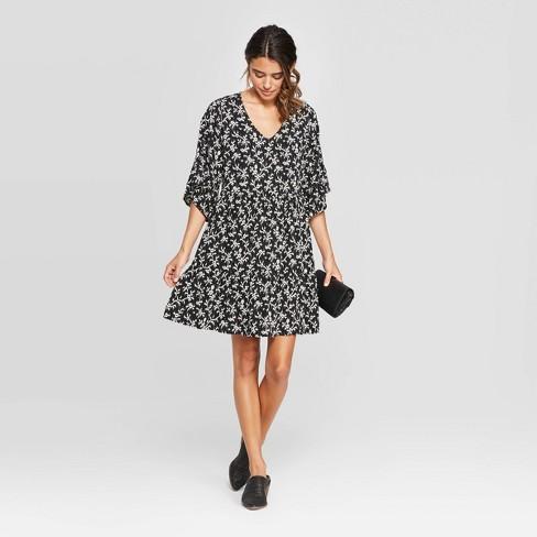 Women's Flutter 3/4 Sleeve V-Neck Mini Tiered Babydoll Dress - Universal Thread™ Black - image 1 of 3