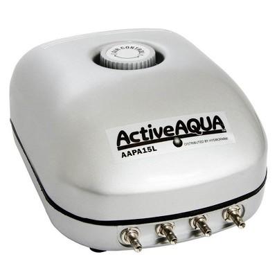 Hydrofarm AAPA15L Active Aqua 6 Watt 240 GPH Adjustable Hydroponic Aquarium Air Pump with 4 Outlets and 4 Foot 120V Cord
