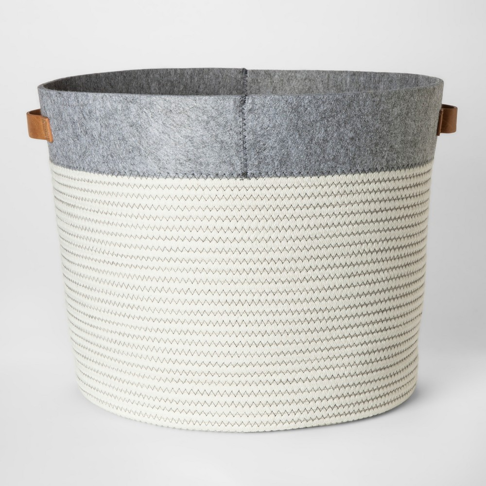 Large Round Fabric Toy Storage Bin Gray & White - Pillowfort