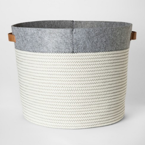 Large Round Fabric Toy Storage Bin Gray & White - Pillowfort™ - image 1 of 4