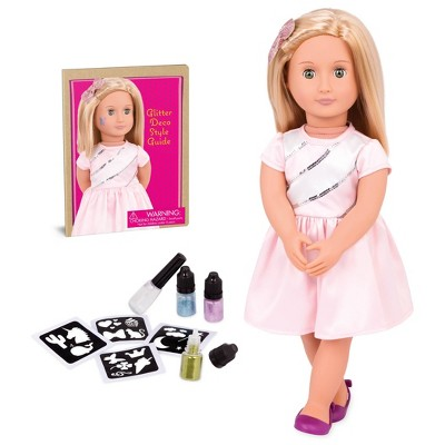 """Our Generation Rosalyn with Style Book 18"""" Glitter Tattoo Deco Doll"""