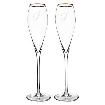 2ct  J  Monogram Champagne Flutes Gold Rim