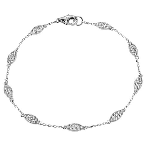 "7/8 CT. T.W. Round-cut Cubic Zirconia Leaf Chain Pave Set Bracelet in Sterling Silver - Silver (7"") - image 1 of 2"