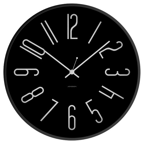 "12"" Round Wall Clock Black - JONSSON Timeware® - image 1 of 3"