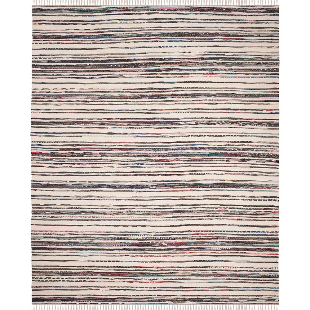 Stripe Woven Area Rug Ivory/Charcoal