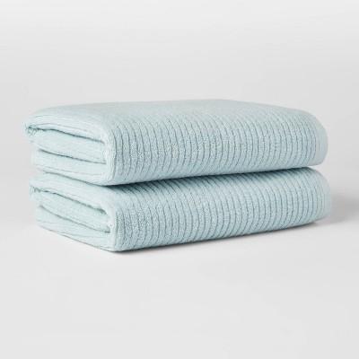 2pk Quick Dry Ribbed Bath Towel Set Aqua - Threshold™