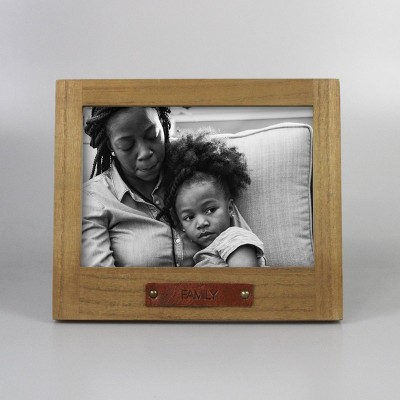 "7"" x 5"" De-bossed Table Frame ""FAMILY"" Natural - Threshold™"