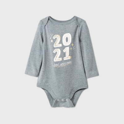 Baby Long Sleeve Bodysuit - Cat & Jack™ Heather Gray Newborn