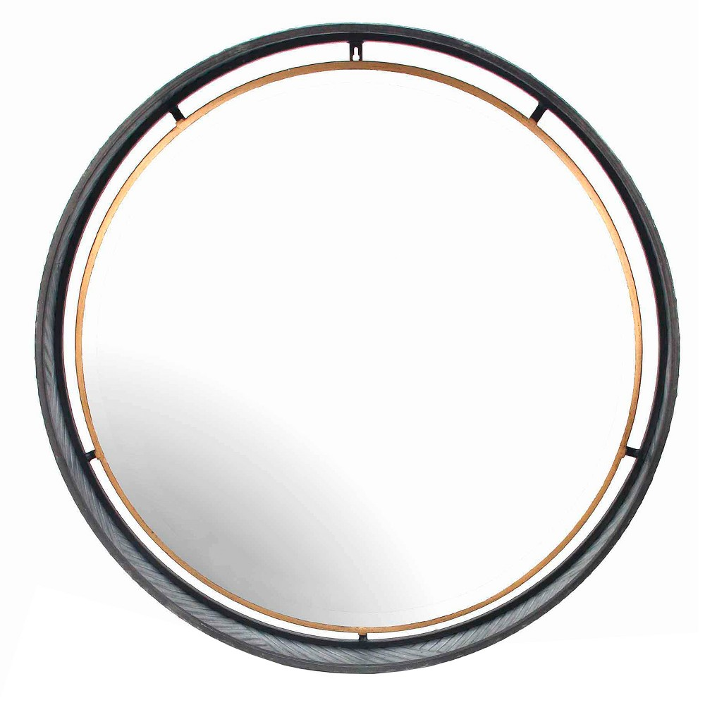 """Image of """"31.5""""""""x31.5"""""""" Round Decorative Wall Mirror Iron Gray - Home Source"""""""