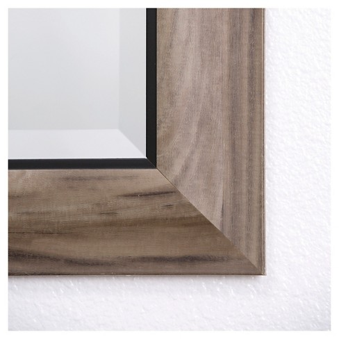 Rectangle Decorative Wall Mirror In Gray Wood With Black Trim