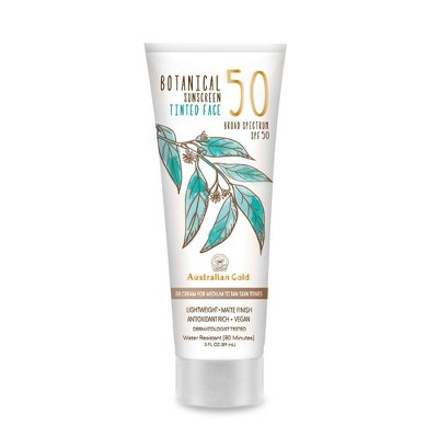 Australian Gold Botanical Tinted Face Sunscreen Lotion - Medium To Tan - SPF 50 -3 fl oz