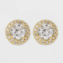 Gold Over Sterling Silver Halo Cubic Zirconia Stud Fine Jewelry Earrings - A New Day™ Gold/Clear