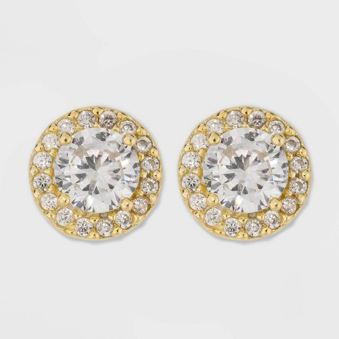 Gold Over Sterling Silver Halo Cubic Zirconia Stud Fine Jewelry Earrings - A New Day™ Gold/Clear - image 1 of 3