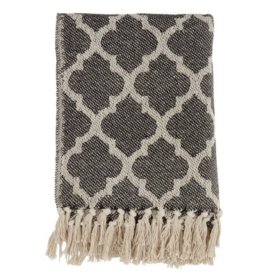50 x60  Moroccan Tile Throw Blanket Black - Saro Lifestyle