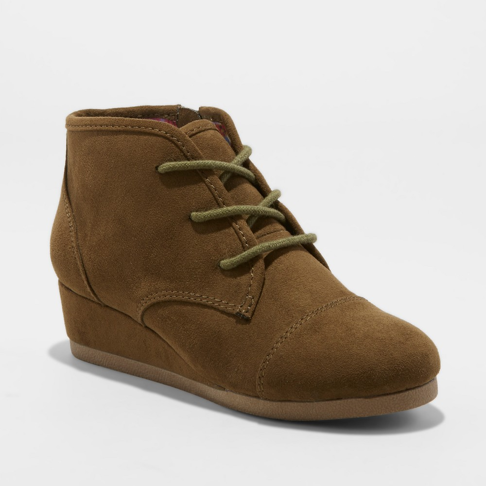 Girls' Mad Love Shelby Wedge Lace Up Fashion Boots - Olive (Green) 13