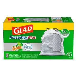 Glad ForceFlexPlus + Tall Kitchen Drawstring Gray Trash Bags - Gain Original with Febreze Freshness - 13 Gallon - 45ct