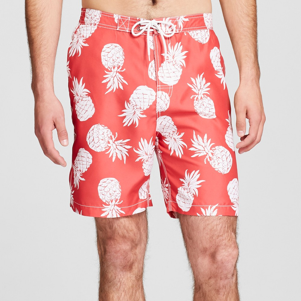 Trunks Men's 7.5 Swami Board Shorts - Coral Reef Pineapple M, Red