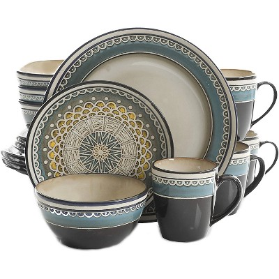 Gibson 124169.16R Everyday Elite Amberdale 16 Piece Reactive Glaze Dinnerware Set Plates, Bowls, & Mugs, Microwave and Dishwasher Safe, Teal