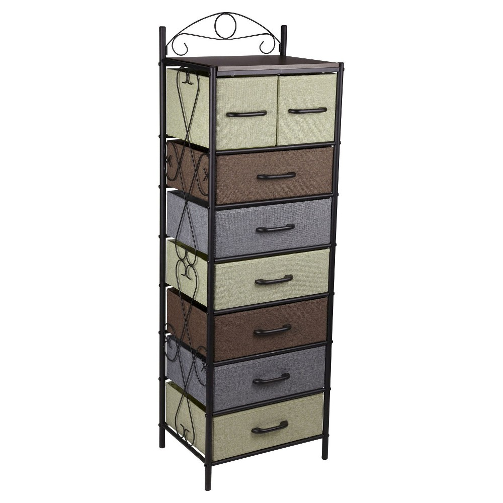 Image of Household Essentials 7-Tier Vertical Storage Drawer Unit, Brown