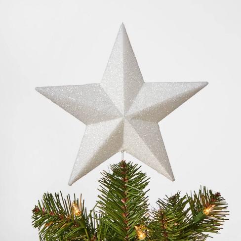 8.5in Unlit Glitter Star Tree Topper White - Wondershop™ - image 1 of 1