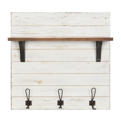 26  x 24  Wall Shelf with 3 Hooks White/Brown - Uniek