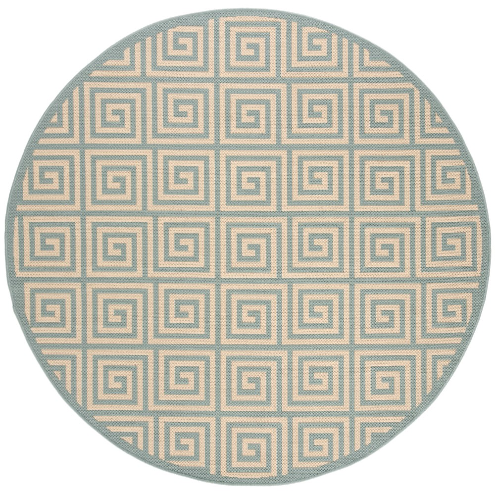 67 Round Geometric Loomed Area Rug Cream/Blue - Safavieh Coupons