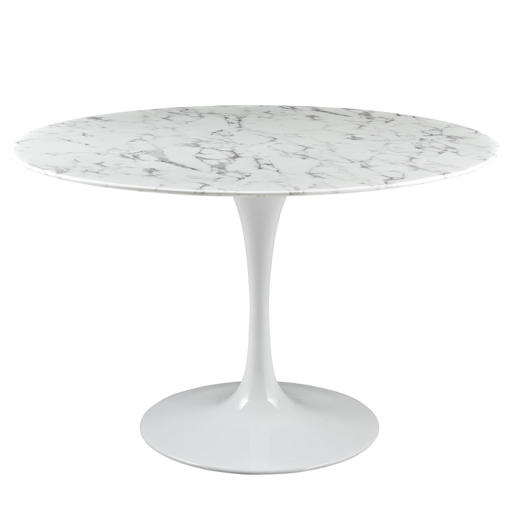 Best Sale Lippa 47 Round Artificial Marble Dining Table White Modway
