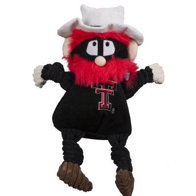 HuggleHounds Knotties Durable Plush Toy for Dogs with Multiple Squeakers, Texas Tech University Raider Red Knottie