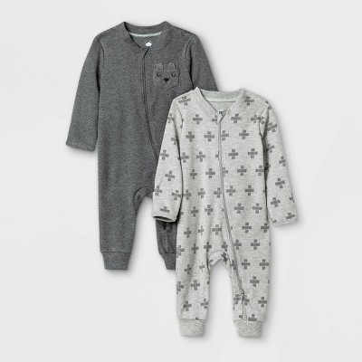 Baby Boys' 2pk Romper - Cloud Island™ Black/White