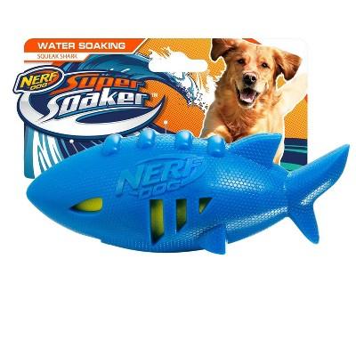 "NERF Shark Super Soaker Football Dog Toy - Blue/Green - 7"""