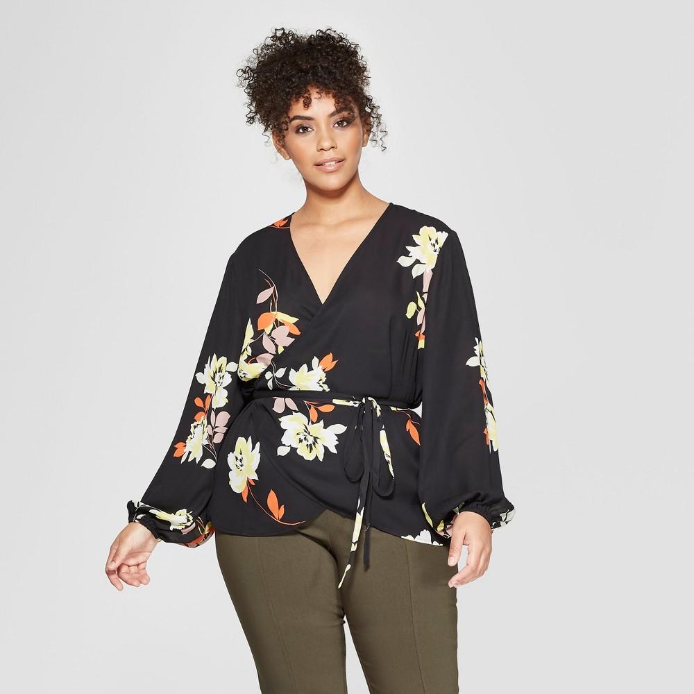 Women's Plus Size Floral Print Long Sleeve Silky Wrap Top - Who What Wear Black 2X, Black Floral