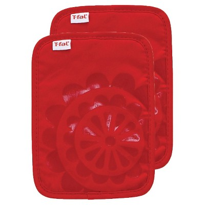 Red Medallion Silicone Pot Holder 2 Pack (6.75 x9 )T-Fal
