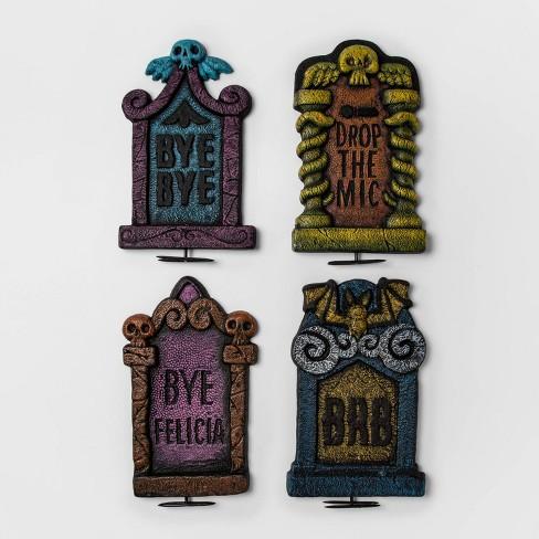 "4pk 17"" Neon Tombstone Halloween Dcor - Hyde & EEK! Boutique™ - image 1 of 1"