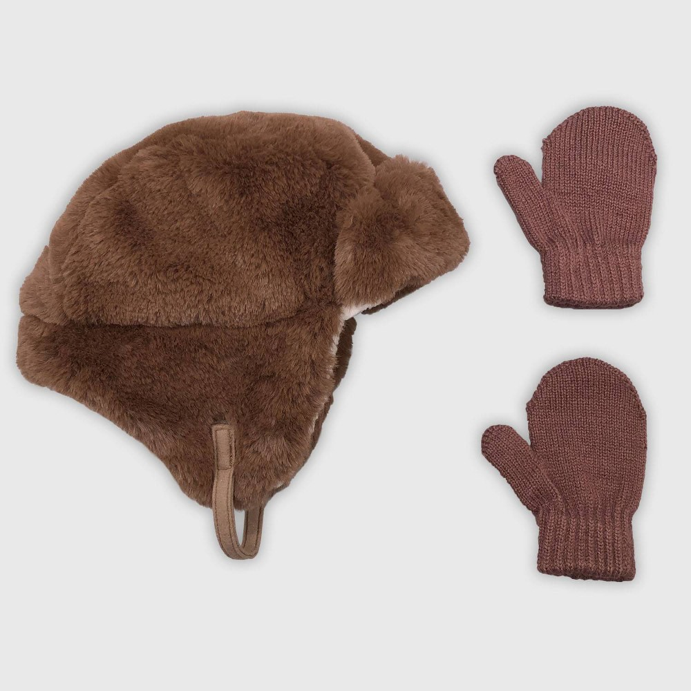 Image of Baby Boys' Hat And Glove Set - Cat & Jack Brown 12-24M, Boy's, Size: 12-18 Months 18-24 Months