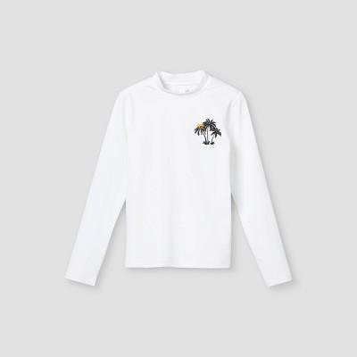 Girls' Palm Long Sleeve Rash Guard Swim Shirt - Cat & Jack™ White
