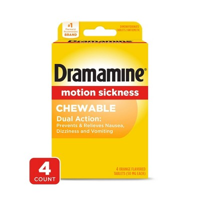 Dramamine Motion Sickness Tablets - Orange Flavored - 4ct